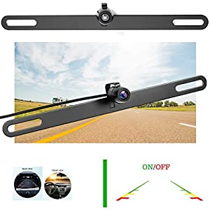 Car Backup Camera License Plate - TOPTIERPRO Car Rear View Camera, Best For Trucks & Cars, 170° Viewing Angle Universal Waterproof High Definition Color Hidden License Plate Reverse Camera