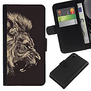 // PHONE CASE GIFT // Moda Estuche Funda de Cuero Billetera Tarjeta de crédito dinero bolsa Cubierta de proteccion Caso Sony Xperia Z3 D6603 / Fierce Lion Roar Majestic /