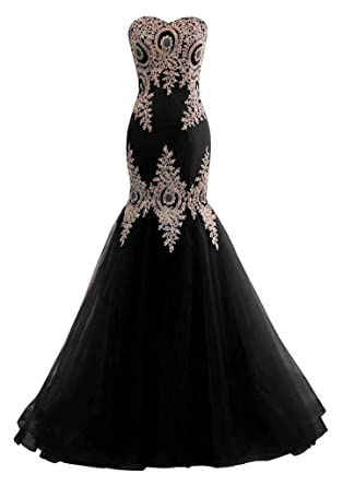 69055c89971 Changuan Mermaid Evening Dress for Women Backless Formal Long Prom Dresses  with Embroidery Black with Train