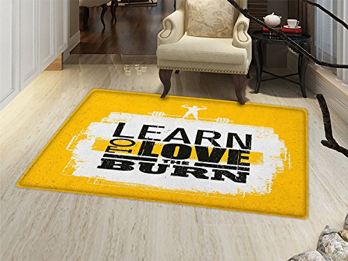 - smallbeefly Fitness Bath Mats Carpet Learn To Love The Burn Text on Grungy Backdrop Fit Athlete with Barbell Floor Mat Pattern Marigold White Black