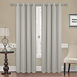 "Melody Melore Blackout Window Curtains – Pair of 2 Privacy Insulated Window Panels - Thermal 3-Layer UV Protection Room Darkening Curtains with Grommet Top Holes 52"" Wide X 84"" Long, Silver Light Gray"