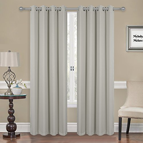 """Melody Melore Blackout Window Curtains – Pair of 2 Privacy Insulated Window Panels - Thermal 3-Layer UV Protection Room Darkening Curtains with Grommet Top Holes 52"""" Wide X 84"""" Long, Silver Light Gray"""