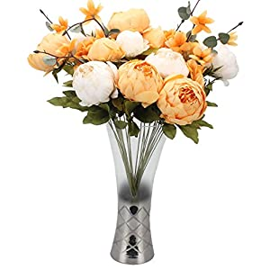 Duovlo Artificial Peony Silk Flowers Fake Flowers Vintage Wedding Home Decoration,Pack of 1 (New Orange) 4
