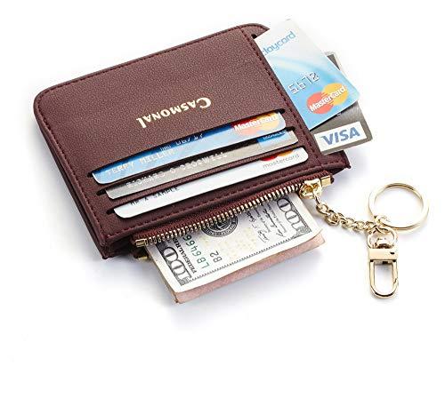 (Casmonal Genuine Womens Leather Card Case Holder Minimalist Slim Front Pocket Wallet Coin Change Purse (Red Wine))