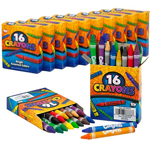 (Kicko Crayon Set - 12 Packs with 16 Pieces Assorted Coloring Pencils in Each Pack - Total of 192 Crayons - School and Office Supplies, Arts and Crafts, DIY Projects, Painting, Color Collection)