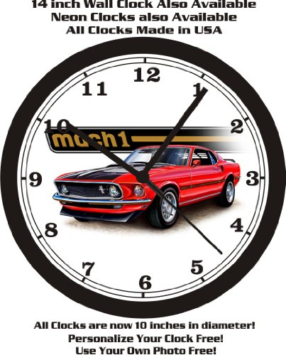1969 FORD MUSTANG MACH 1 WALL CLOCK-FREE USA SHIP-Choose 1 of (Car Color Wall Clock)