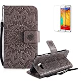Funyye Strap Magnetic Flip Cover for Samsung Galaxy A3 2016,Premium Gray Embossed Sunflower Pattern Folio Wallet Case with Stand Credit Card Holder Slots Case for Samsung Galaxy A3 2016,Shockproof Ultra Thin Slim Fit Full Body PU Leather Case for Samsung Galaxy A3 2016 + 1 x Free Screen Protector