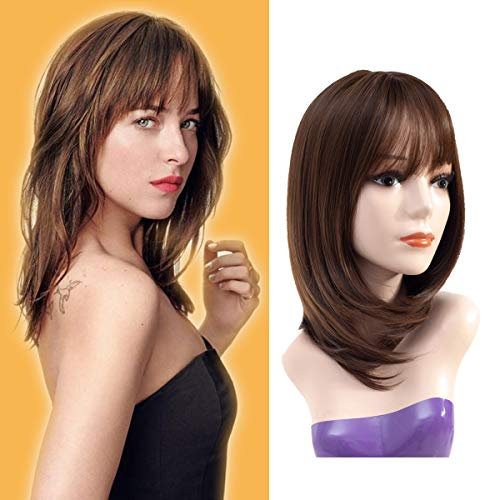 Hairphocas Straight Bob Hair Wig Dark Brown Shoulder Length Layer Full Wig with Bangs Heat Resistant Daily Wig for Women