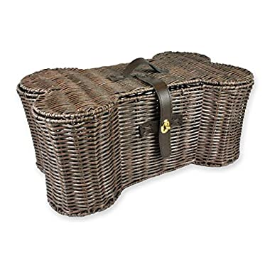 DII Wicker Pet Toy and Accessory Storage Basket, Home Décor Bone Shape Bin, 21x7.5 , Medium