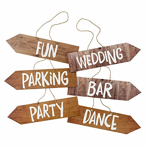 Talking Tables Blossom & Brogues Wedding Venue Signs for a Wedding Reception, Multicolor (6 Pack)