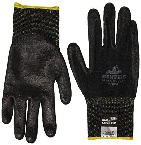 (MCR Safety 9178NFS 13 Gauge Kevlar/Synthetic Fiber Memphis Black Kevlar Gloves with Nitrile Foam palm/Fingers (1 Pair),)