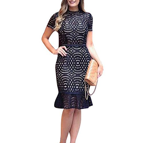 Women's Short Sleeves Sexy Lace Floral Cocktail Party Special Occasions Dresses Size S-XL (Large, Black)
