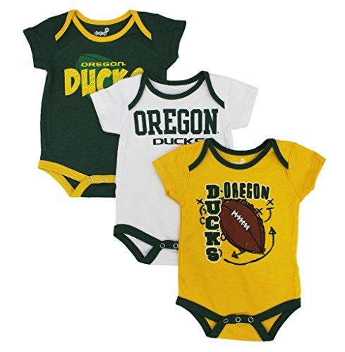 GEN2 Baby Oregon Ducks 3 Point Spread 3 Piece Bodysuit Set,3-6 Month