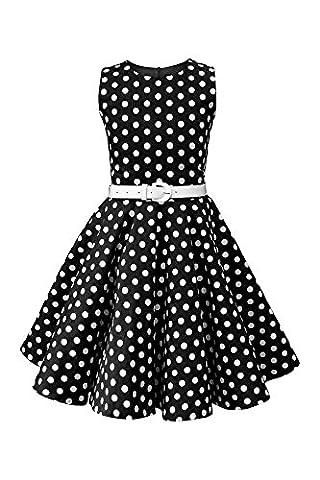 BlackButterfly Kids 'Audrey' Vintage Polka Dot 50's Girls Dress (Black, 13-14 YRS)