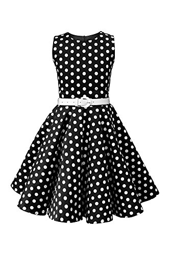 Price comparison product image BlackButterfly Kids 'Audrey' Vintage Polka Dot 50's Girls Dress (Black, 9-10 yrs)