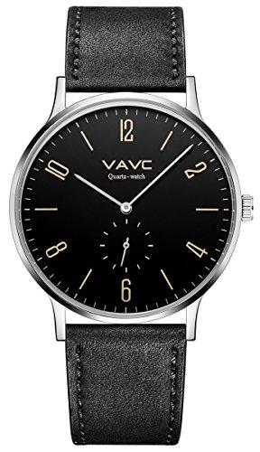 - VAVC Men's Black Leather Band Casual Simple Dress Quartz Wrist Watch with Black Dial