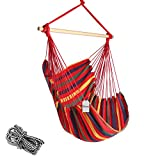 Chihee Hammock Chair 330 Pound Capacity Large Hammock Chair Relax Hanging Swing Chair Cotton Weave for Superior Comfort & Durability Perfect for Indoor/Outdoor Home Bedroom Patio Deck Yard Garden