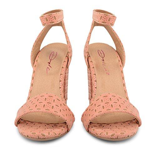 Protector de pantalla Dolcis tabla para traje de neopreno para mujer de mujer para Correa para tobillo verano talla zapatos sandalias de tacones de - Pink Tan