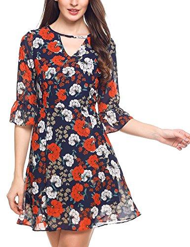 Zeagoo Women Summer Deep V Neck Puff Sleeve Floral Print Mini Dresses Navy Blue XL