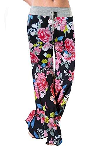 837fb21d42862 Amstt Women's Floral Print Drawstring Wide Leg High Waist Casual Long Pants  Plus Size