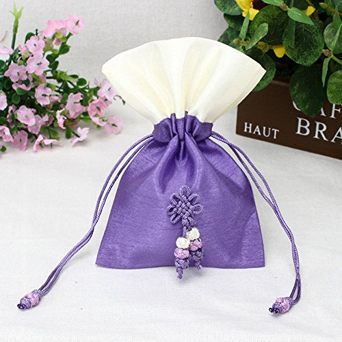 TooGet Sachet Bags Ice Silk Drawstring Bags Jewellery Bags Gift Bags Jewelry Poucches for Wedding Party and DIY Craft, 4x6 Inch Purple Colors, 6-Pack -