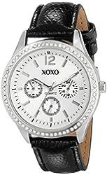 XOXO Women's XO3179 Silver Dial Black Lizard Strap Watch