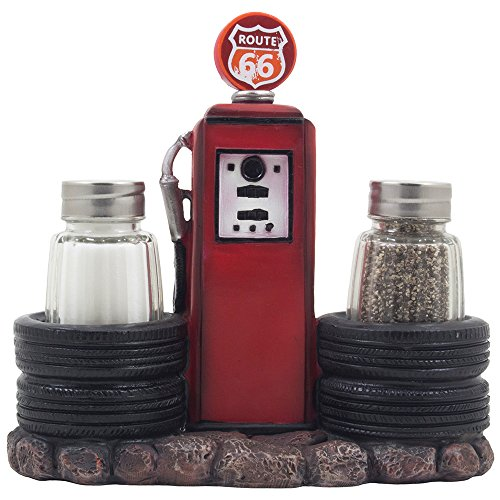 (Vintage Gas Station Filling Pump Salt and Pepper Shaker Set with Decorative Car Tires & Route 66 Sign for Restaurant or Retro Kitchen Decor Spice Racks as Classic Car Style Father's Day Gifts for Dad)