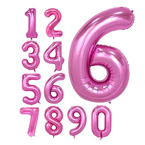 CUEA Pink 40inch Number 6 foil Balloons for Birthday Party (Pink 6)