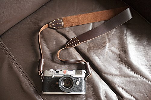 Handmade Genuine Real Leather Camera Strap Neck Strap for Film Evil Dslr Camera Dark Brown 01-113