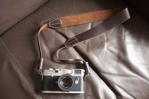 Handmade Genuine Real Leather Camera Strap Neck Strap for Film Evil Dslr Camera Dark Brown 01-113 Best View
