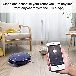 Luby Robot Vacuum Cleaner, Mop, Wi-Fi Connectivity, Self-Charging, Super-Thin, Blue
