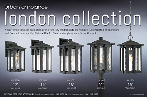 Luxury Craftsman Outdoor Wall Light, Small Size: 12.25''H x 6.5''W, with Mid-Century Modern Style Elements, Vertical Stripes Design, Natural Black Finish and Water Glass, UQL1050 by Urban Ambiance by Urban Ambiance (Image #5)