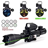 UUQ 4-16x50EG AR15 Tactical Rifle Scope Red/Green Illuminated Range Finder Reticle W/Red Laser and Tactical Multi Optical Coated Holographic Dot Sight for 22mm Rail Mount