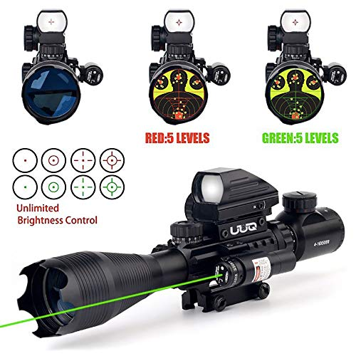 UUQ 4-16x50EG Tactical Rifle Scope Red/Green Illuminated Range Finder Reticle With Green Laser and Multi Optical Coated Holographic Dot Sight (12 Month Guarantee) (Best Scope For Ar 15 100 Yards)