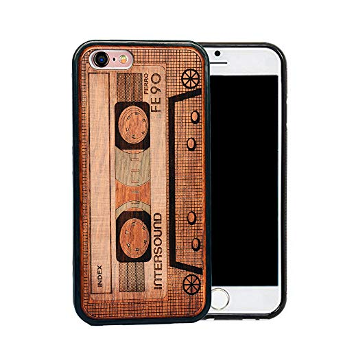 Natural Wood Back Cover Unique Natural Solid Wood Engraving Pattern TPU Bumper Protective Wooden case Compatible with iPhone SE, iPhone SE Case (Tape, iPhone 5/SE 4'') (Iphone 5s Case Elephant Wood)