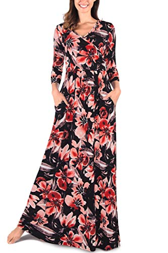 (Comila Women's 3/4 Sleeves Floral Print Casual Loose Wrap V Neck Long Maxi Dress Classic Autumn Empire Waist Petite Size Length Flowy Formal Party Dress Black Red Floral M US(8/10))