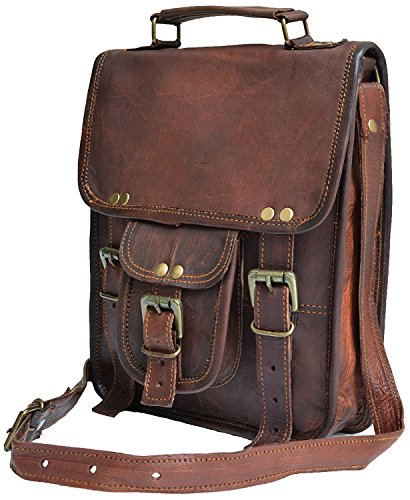 🥇 11″ small Leather messenger bag shoulder bag cross body vintage messenger bag for women & men satchel man purse competible with Ipad and tablet