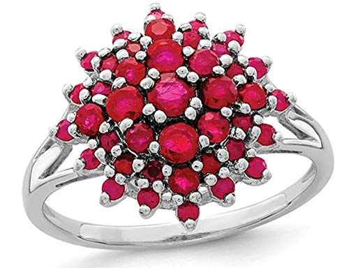 1.20 Carat (ctw) Natural Ruby Cluster Ring in Rhodium Plated Sterling - Ring Cluster Ruby