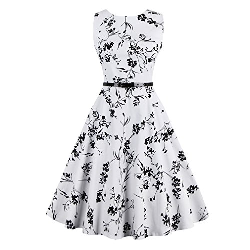 Sexy mujer Vestido Vintage Retro elegante vestido de mujer con cinturón de impresión Floral parte Oficina vestimenta casual vestidos Blanco