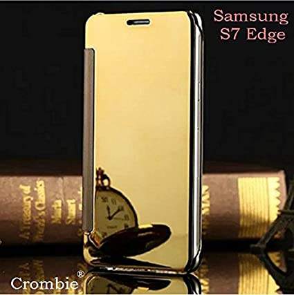 Crombie Samsung Galaxy S7 Edge Flip Cover Mirror View Case in Gold Colour