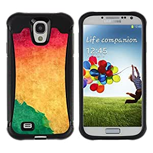 Fuerte Suave TPU GEL Caso Carcasa de Protección Funda para Samsung Galaxy S4 I9500 / Business Style Watercolor Green Liquid Dynamic Wallpaper Yellow