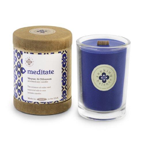Root Candles Seeking Balance Small Spa Candle, 6.5-Ounce, Meditate: Vetiver & Olibanum