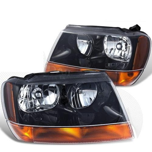 Fleetwood Bounder 2009-2015 RV Motorhome Pair (Left & Right) Black Front Lamps Headlights with Bulbs