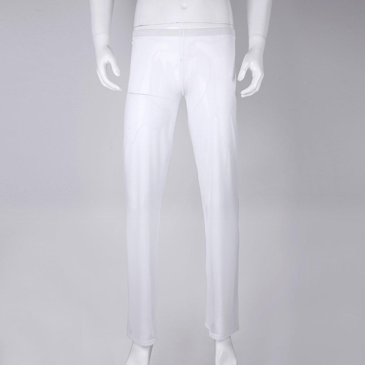 74edbaaadf54a iixpin Homme Pantalon Vêtement de Sport Demi Transparent Lingerie de Nuit  Bas de Pyjama Lâche Fitness Sexy Yoga Pyjamas de Pantalon Bar Pub sous- vêtement ...
