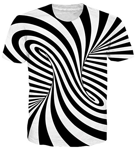 (Male Women Dry Raw Jazz Crew Graphic T-Shirts Adult Pop Short Sleeve Black and White Twisted Stripes Unisex Tees Surf Bar Designer Zebra T Shirts for Men XL)
