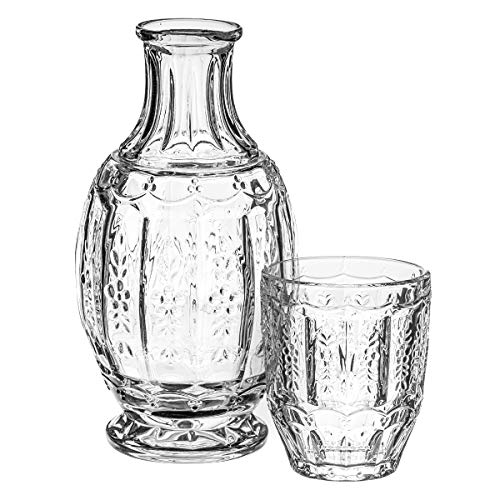 Trinkware Bedside Night Carafe With Tumbler Glass - 2 Piece Water Set - Vintage