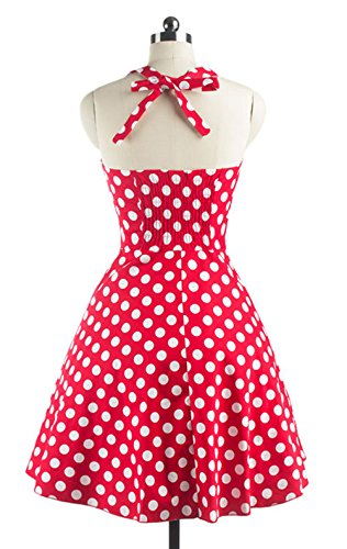 Grande Tutú Lunares Rockabilly Retro DATO de Vestido la Rojo Delgado 50s Falda del Hepburn 0CzSx