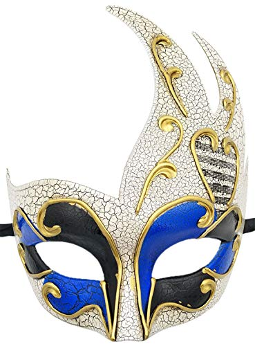 Mens Masquerade Mask Checkered Cracked Vintage Prom Halloween Mardi Gras Venetian Party Mask (B Blue Cracked)]()