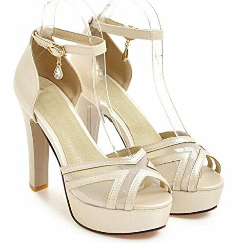 Aisun Kvinna Mode Peep Toe Bucklig Klänning Chunky Högklackade Plattform Sandals Skor Med Vristrem Beige