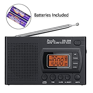 DreamSky Portable AM /FM Radio Alarm Clock, Clear Loudspeaker , Earphone Jack , 12 /24H Time Display With Backlight , Ascending Alarms , Battery Operated , Sleep Timer . AA Battery Included .
